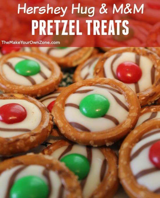Make this easy and yummy treats using pretzels, Hershey Hugs, and M&M's. You can use M&M's in different colors for different holidays.