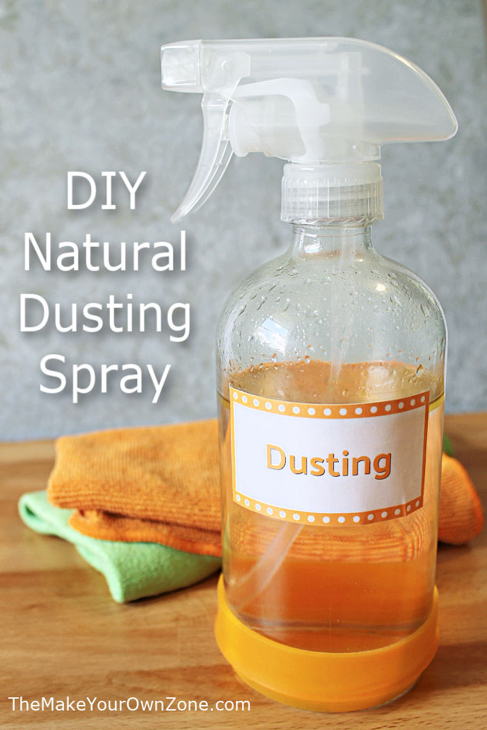A spray bottle of homemade natural dusting spray