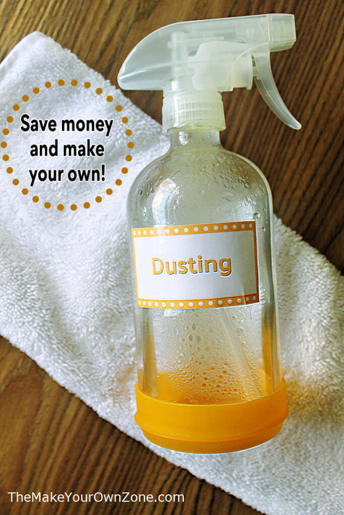 a bottle of DIY dusting spray