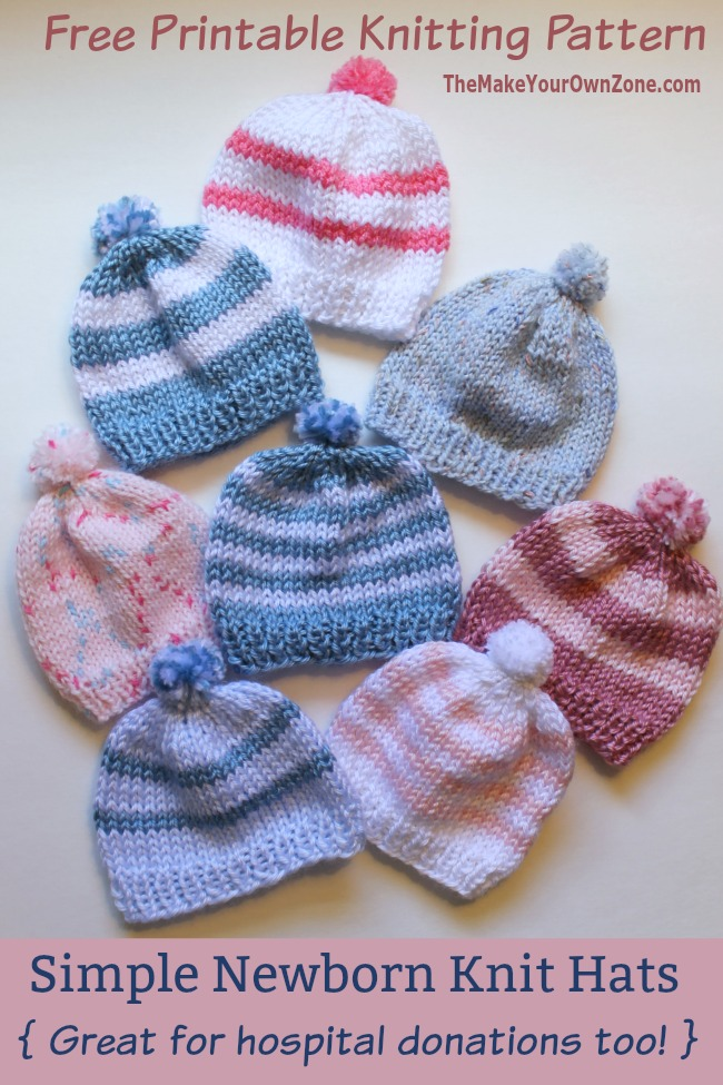 c50e76e4454 Free Knitting Pattern - Quick Knit Newborn Baby Hat. Easy for beginners too!