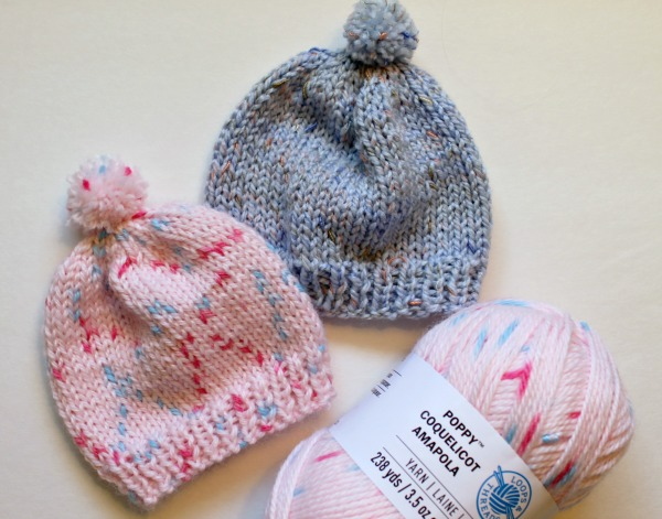 79cd6c1f297 Free Knitting Pattern - Quick Knit Newborn Baby Hat. Easy for beginners too!