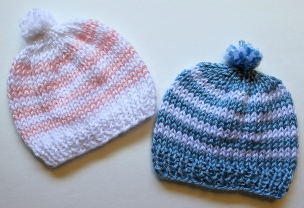 4c8ef22ef49 Free Knitting Pattern - Quick Knit Newborn Baby Hat. Easy for beginners too!