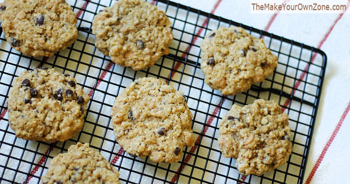 homemade oatmeal cookies on a cooling rack