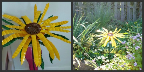 Make s garden sunflower from a water bottle
