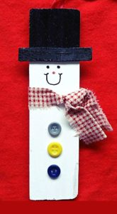 How to make a snowman Christmas ornament from a paint stick stirrer - a craft the kids can do too!