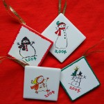 Christmas Craft Flashback #2 – Stamped Tile Ornaments