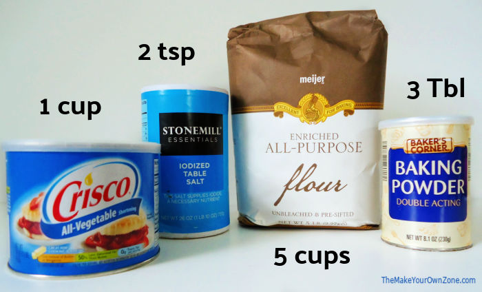 Ingredients to use to make homemade Bisquick