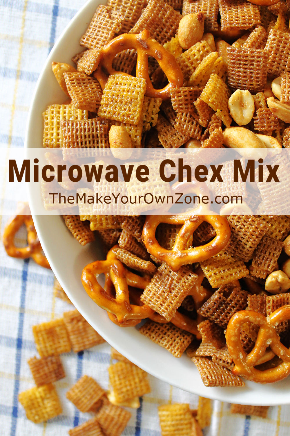 Homemade chex snack mix in a bowl