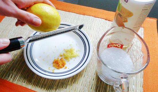 ingredients for homemade citrus body scrub
