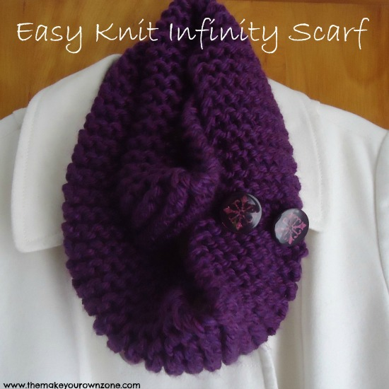 Knitting Pattern For Yarn Over Scarf : Easy Knit Infinity Scarf - The Make Your Own Zone