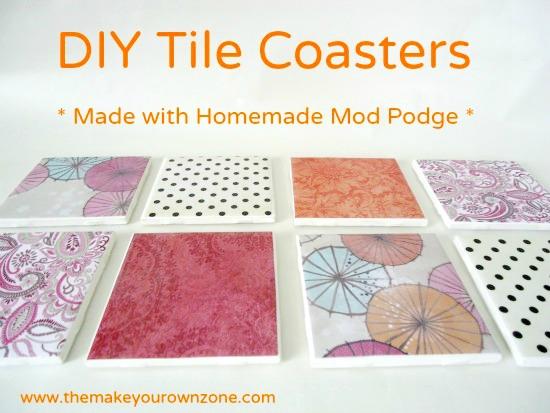 homemade tile coasters made with Mod Podge