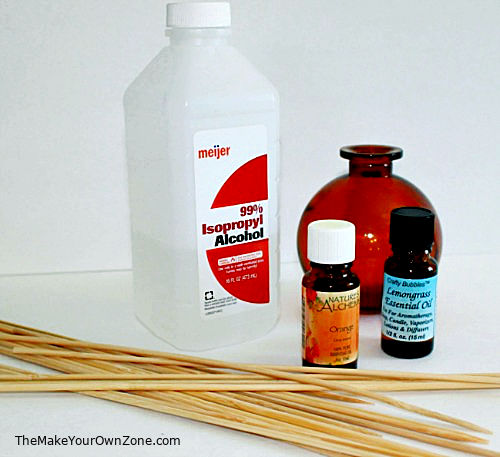 Ingredients to make homemade reed diffuser liquid