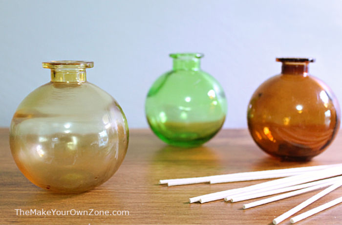 Small bottles and reeds to use with homemade reed diffuser liquid