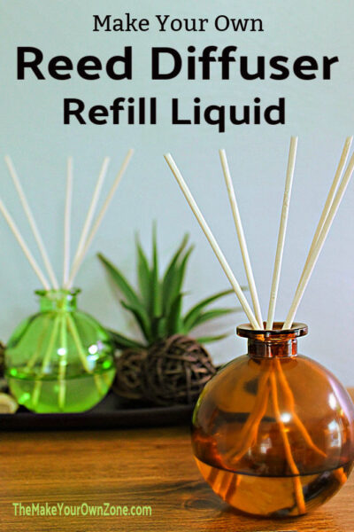 Reed diffusers bottles filled with homemade refill liquid