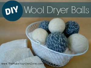 Basket of homemade wool dryer balls