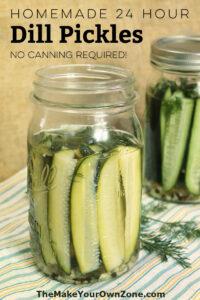 A jar of homemade refrigerator pickles