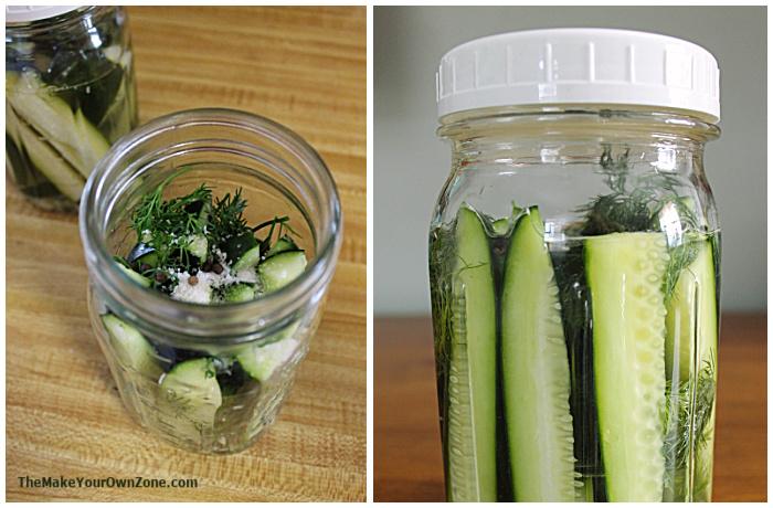 Selbstgemachte Gurken in einem Einmachglas herstellen