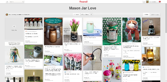 Mason jar pinterest board