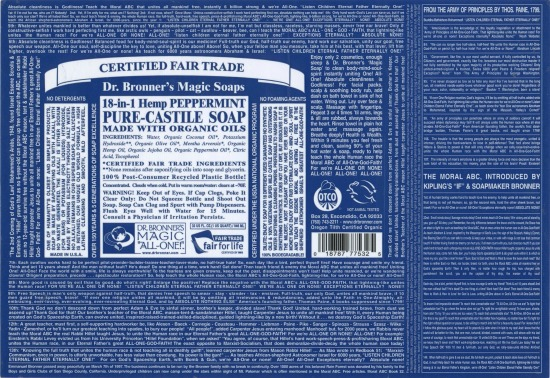Dr Bronners Castile Soap label