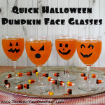 jack-o-lantern pumpkin face drinking glass decorations