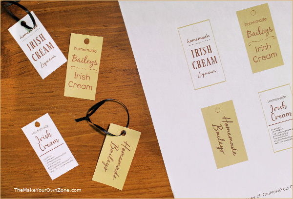 Gift tags for homemade irish cream