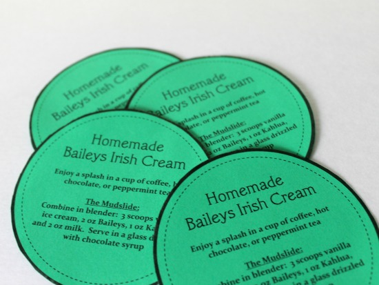Homemade Baileys Irish Cream Labels