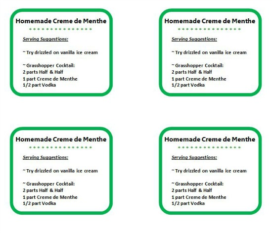 labels for homemade creme de menthe