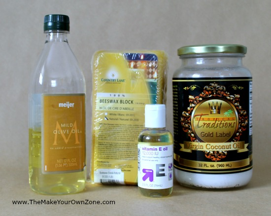 Ingredients for homemade olive oil moisturizer