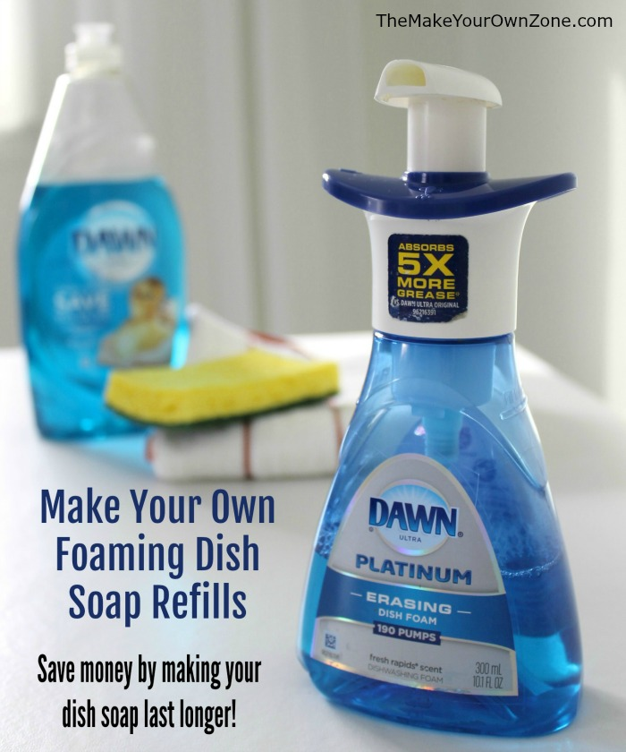 Make your own foaming dish soap refills - save money by stretching your dish soap and making it last much longer!