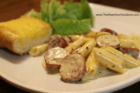 Recipe for Sausage Penne Alfredo skillet dinner