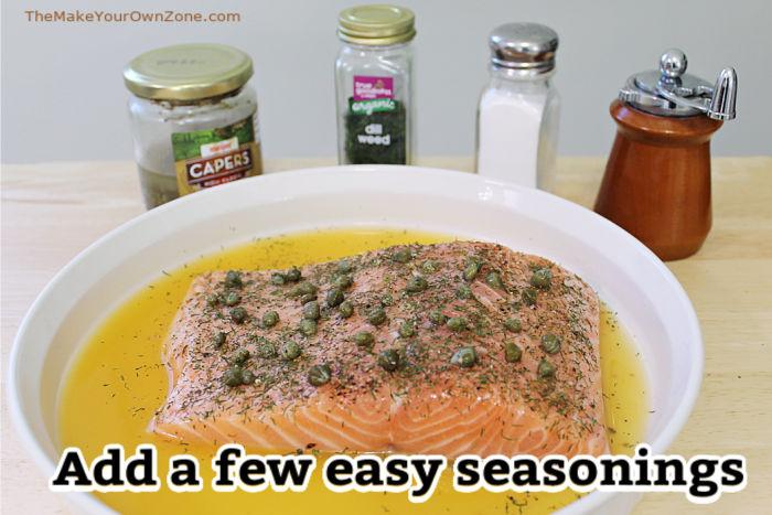adding seasonings to a salmon recipe