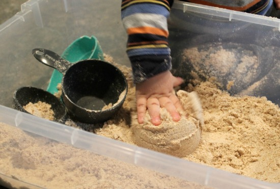 Make your own play sand (moon sand) - easy to do with just flour and oil!