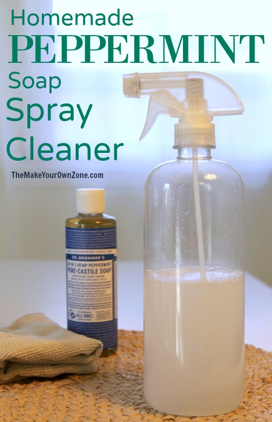 This is a great homemade cleaner option for those that want to skip the vinegar - use soap and the fresh scent of peppermint instead!