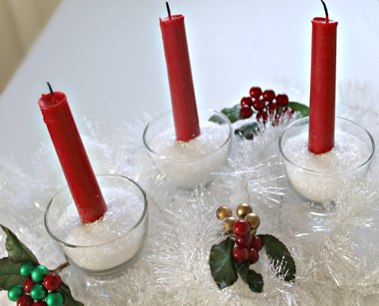Use epsom salt in glass bowls with candles to make a frugal holiday centerpiece