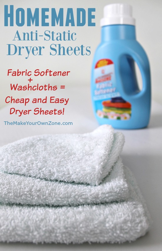 Make your own anti-static dryer sheets - DIY dryer sheets are cheap and easy, and the work great too!