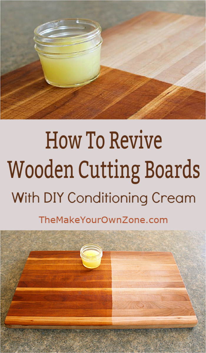Wooden Cutting Board being cleaned with homemade cutting board conditioning cream