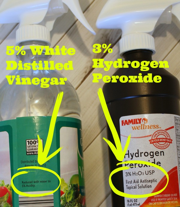 How to disinfect naturally using white distilled vinegar and hydrogen peroxide.