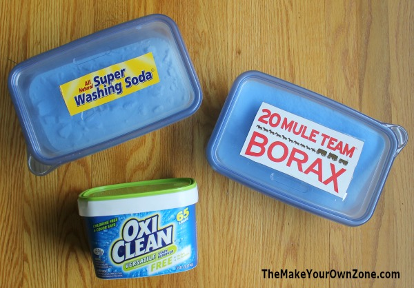 Make your own powdered laundry soap with these three quick and simple ingredients - no grating of bar soap needed!
