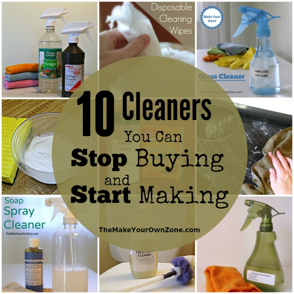 Would you like to get started with homemade cleaners? Here are 10 recipes to you can start to make your own cleaners instead of buying them!
