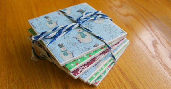 Homemade tile coasters made with DIY Mod Podge