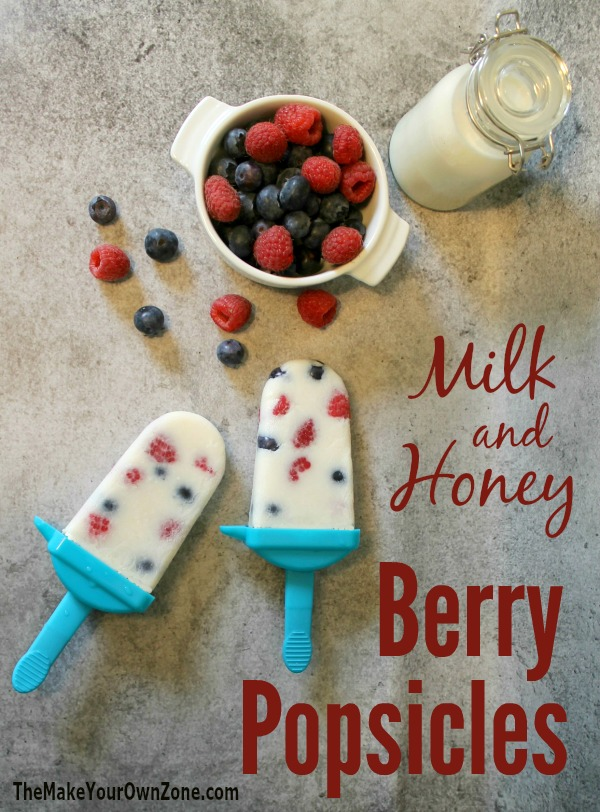 Milk and Honey Berry Popsicles | Healthy ingredients with a patriotic theme!