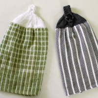 Free Knitting Pattern - Knit these quick and inexpensive towel toppers using Dollar Store dish towels and your leftover yarn