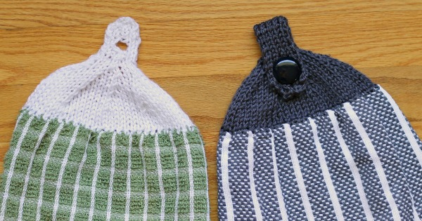 Free Knitting Pattern - Knit two styles of tops for your dish towels so you can conveniently hang them in your kitchen