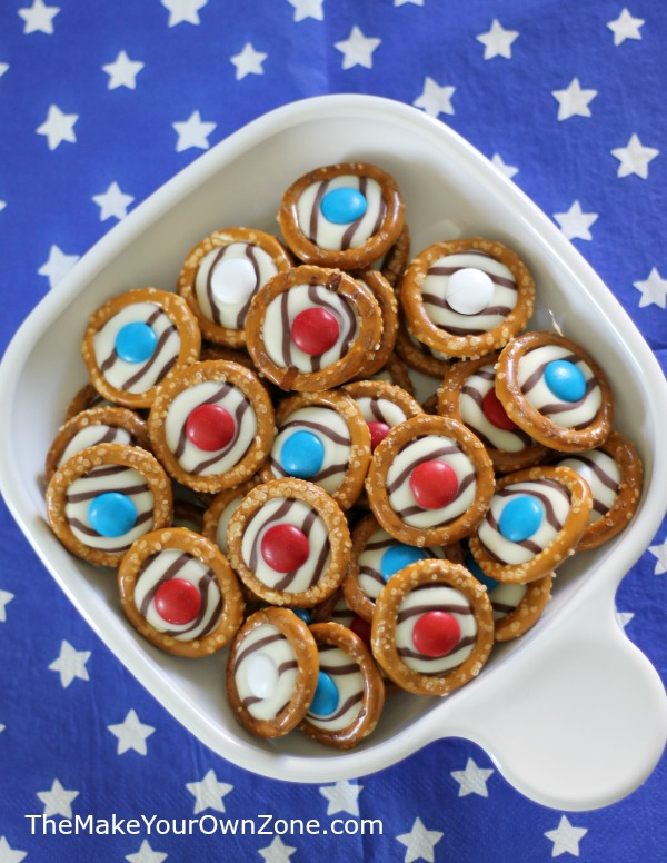 Make these tasty Pretzel M&M Treats in red, white, and blue - perfect for a patriotic holiday like the 4th of July