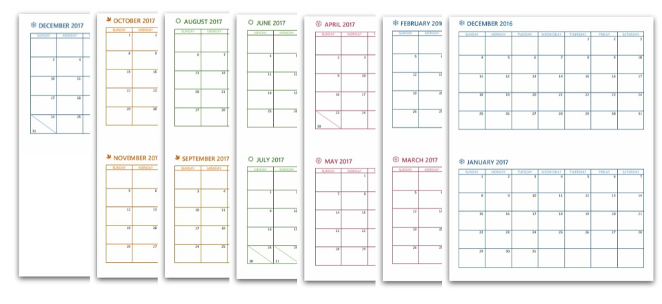 2017 Free Printable Planner Pages