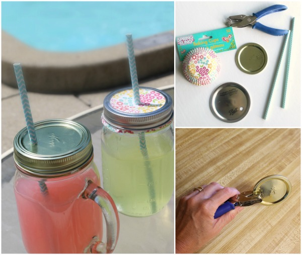 Make your own drinking straw lids for mason jars with this easy method