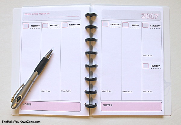 2017 free printable planner pages the make your own zone for Create your own planner online