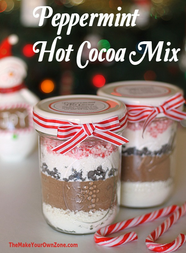 Peppermint Hot Cocoa - can be used as a layered mix in a jar for gift giving - free printable label too!