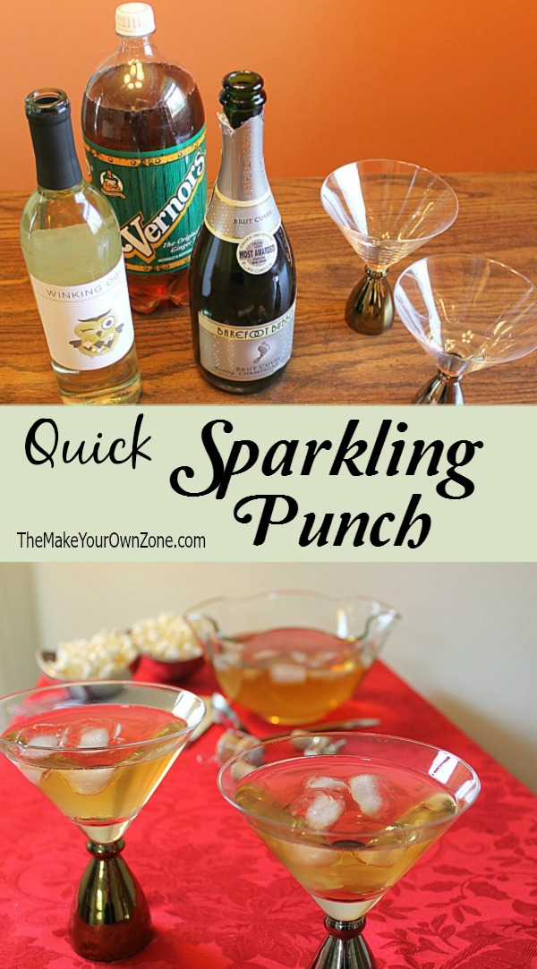 Quick Sparkling Punch Recipe - Just open three bottles and pour them together! Choose from two versions (with or without alcohol)