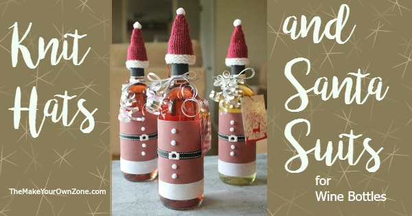 How to make Santa suits and knit hats to decorate your wine bottles for Christmas